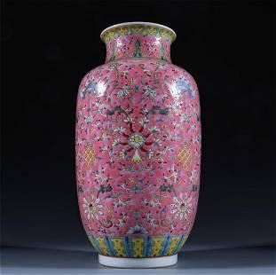 Old stock, red ground enamel vase