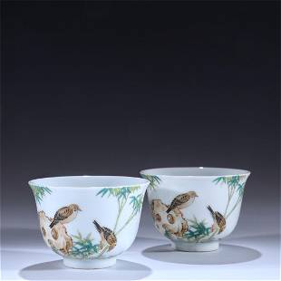Old stock,a pair of famille-rose teacups