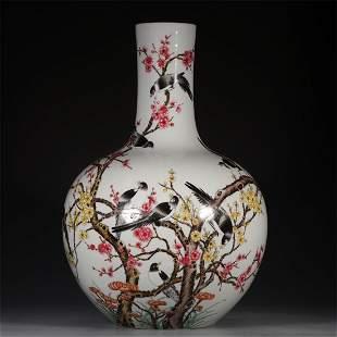 Qing Dynasty famille-rose globular vase