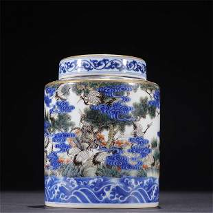 Qing Dynasty,blue and white famille-rose gilt jar