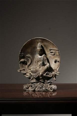 Old stock,copper silver plate buddha statue
