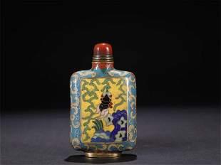Qing Dynasty copper enamel snuff bottle