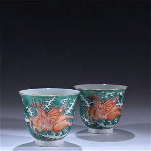 Old stock,green glazed Fanhong tea cups