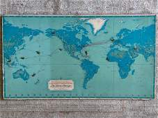 Vintage Pan American Clipper Club Map On Board