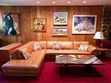 Roche Bobois Modern 2 Piece Leather L-Sectional Sofa