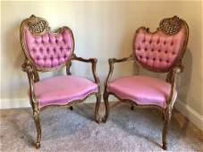 French Rococo Louis XV Style Gilt Fauteuil Arm Chair