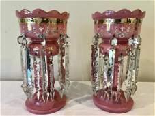 Antique Victorian Pink Cased Glass Mantle Luster Set of