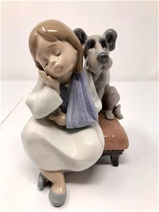 Lladro 5706 We Can't Play Girl With Pet Dog Porcelain