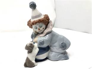 Lladro 5278 Pierrot With Puppy and Ball Porcelain