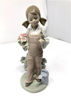 Lladro 5217 Spring Girl With Flowers and Bird Porcelain