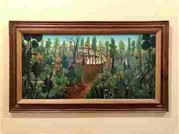 R. HECTOR Hatian Oil on Board Naive Painting