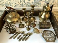 Estate Brass Box Lot of 20 Pieces.  As-Is-As-Shown