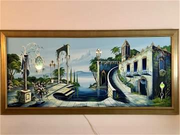 Vintage Kitsch Electrified Oil on Canvas Lake Como