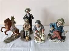 Lot of 5 Bisque Figurine Statuettes