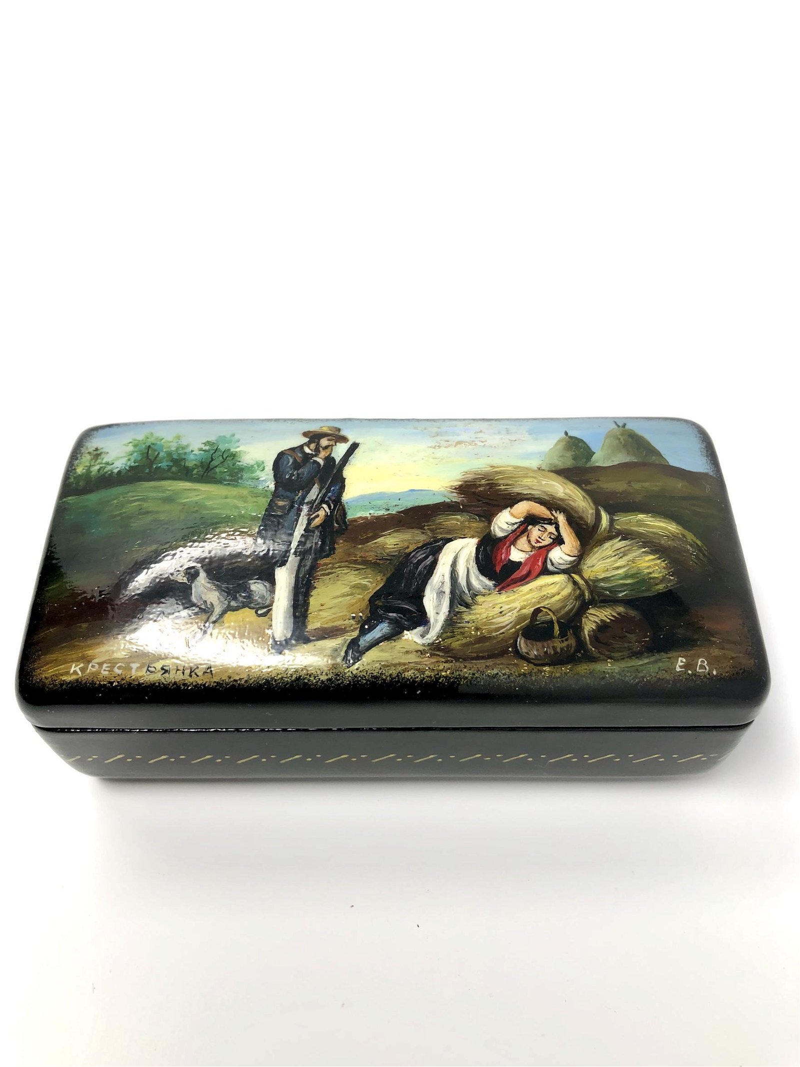 Russian Painted Lacquer Trinket Box