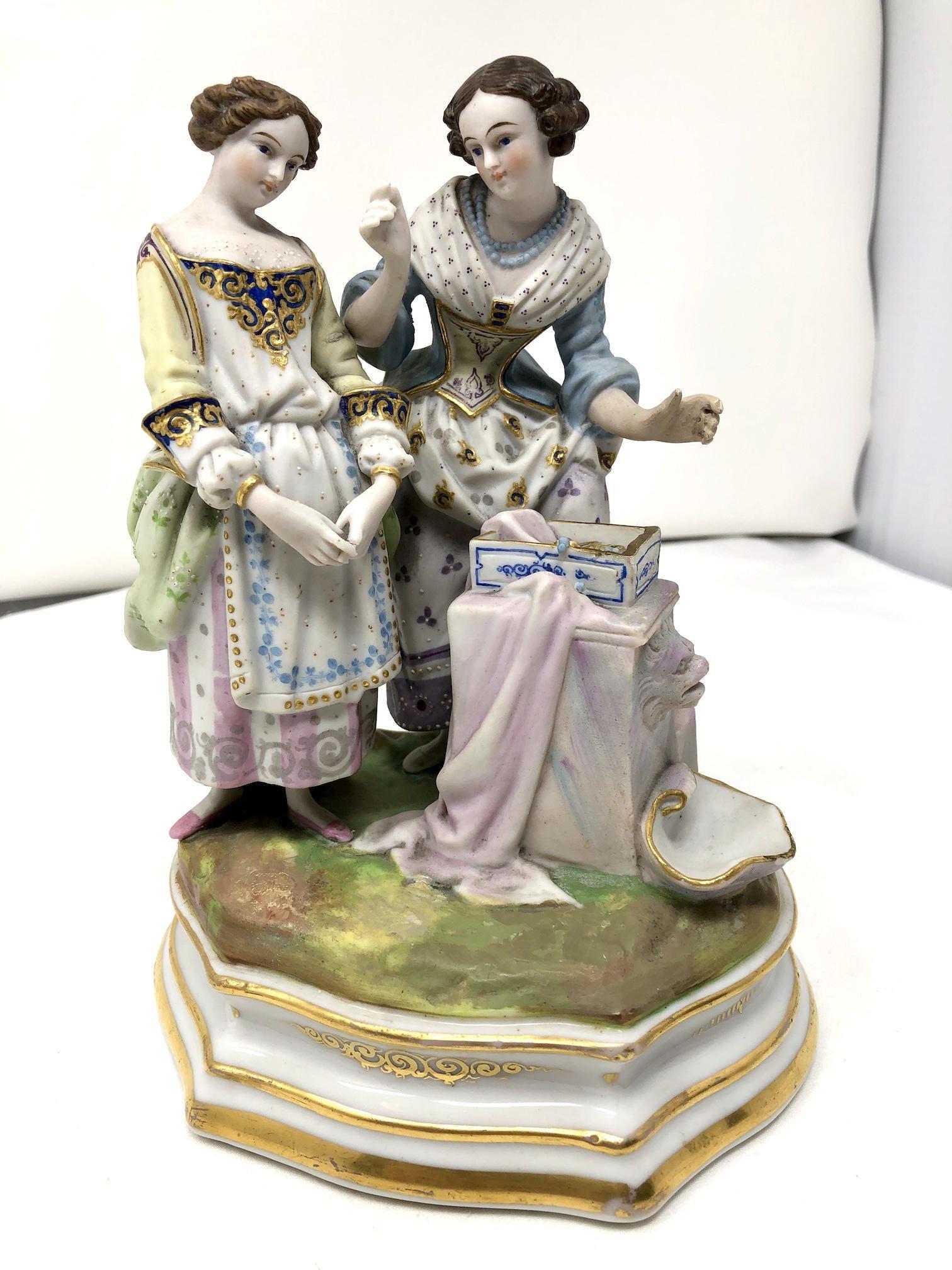 Antique German Bisque Porcelain Group