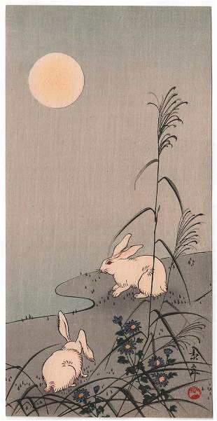 Imao Keinen Woodblock Print: Rabbits, c.1930's