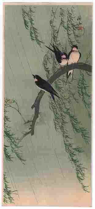 Ito Sozan woodblock print: Barn Swallows, c.1910's