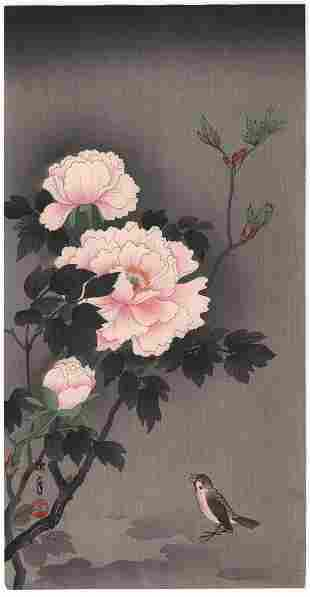 Imao Keinen Woodblock Print: Sparrow/Peony, c.1930's