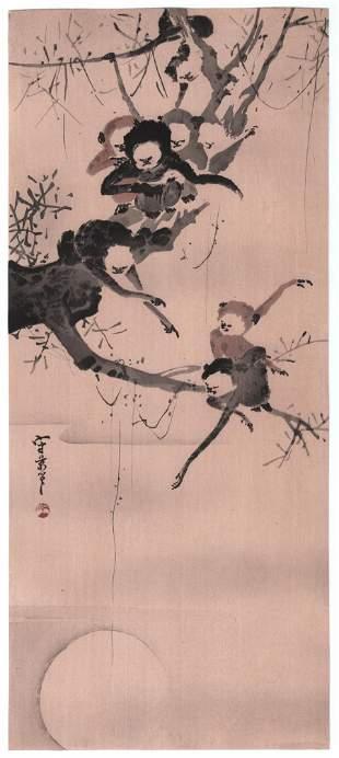 Unread Japanese Woodblock Print: Monkey's, 1910's