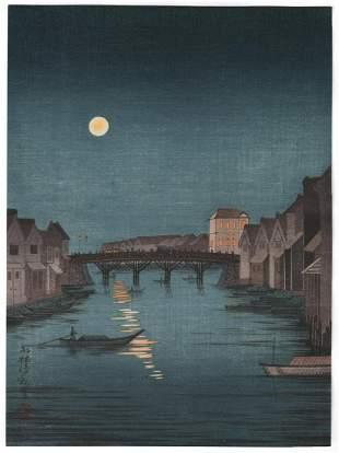 Kiyochika Woodblock Print: Full Moon, c.1930's