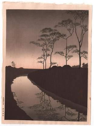 Koho Woodblock Print: Night Series, Sepia, 1930's