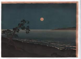 Yoshimuni woodblock: Full moon, Unusual Size, c.1930