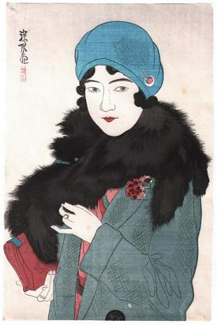 Ito Shinsui Woodblock Print: Early Spring Beauty, 1930