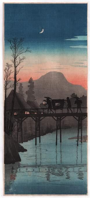 Shotei Takahashi - Evening Glow Sakawa Bridge 1936