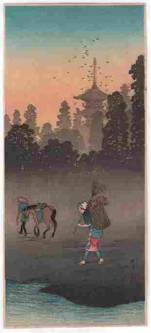 Shotei Takahashi - Evening Bell Bansho 1936 woodblock