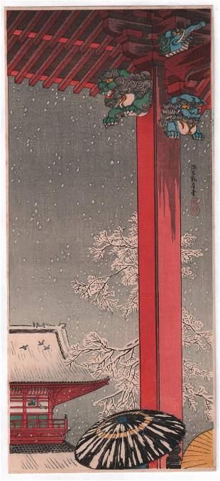 Shotei Takahashi - Asakusa Kannon 1936 woodblock