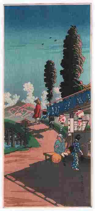 Shotei Takahashi - Tea Shop Nakaizumi c1930 woodblock
