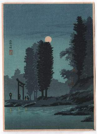 Shotei Takahashi - Moonrise Tsukagoshi c1930 Muller Est