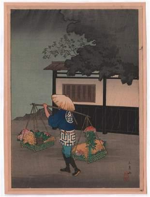 Shotei Takahashi - Flower Seller Rainy Day c1930