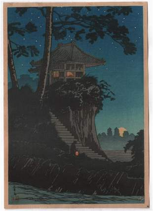 Shotei Takahashi - Moonrise at Tokumochi 1930 Muller