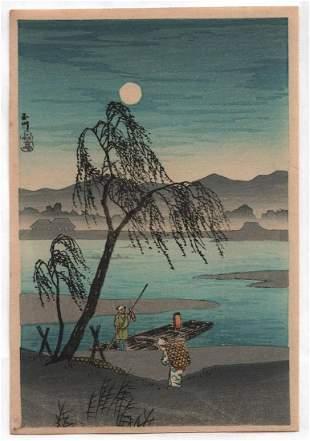 Shotei Takahashi - Autum Moon Tama River 1930 Muller