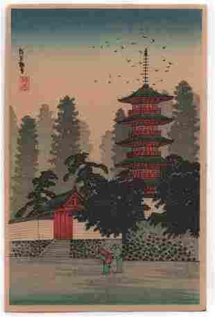 Shotei Takahashi - Kinugasa Temple c1930 woodblock