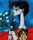 PABLO PICASSO - PORTRAIT OF JACQUELINE ROQUE WITH