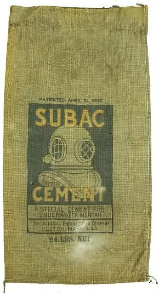1930s Subac Cement Burlap Bag w/ Morse Diving Helmet