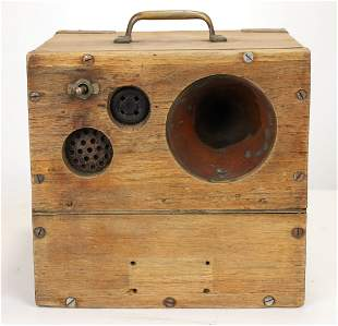 Antique Wood Top Side Divers Comms Box w/ Headphones