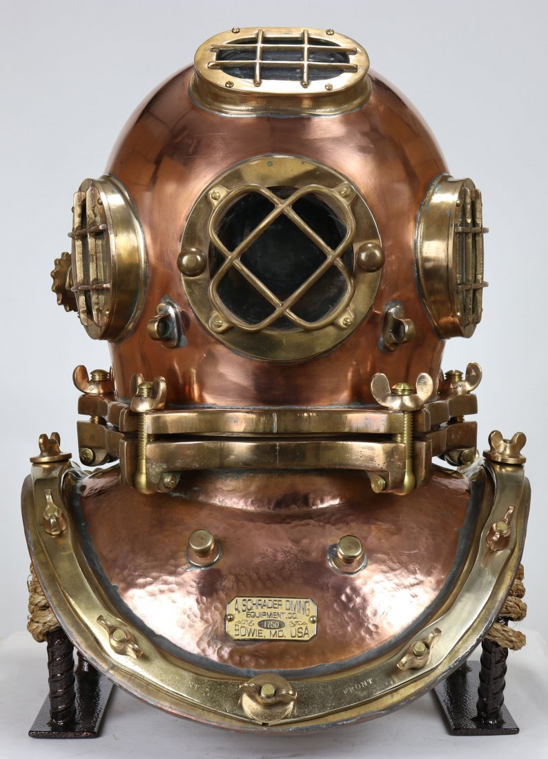 Impressive Schrader 5 Bolt Diving Helmet Fully Polished