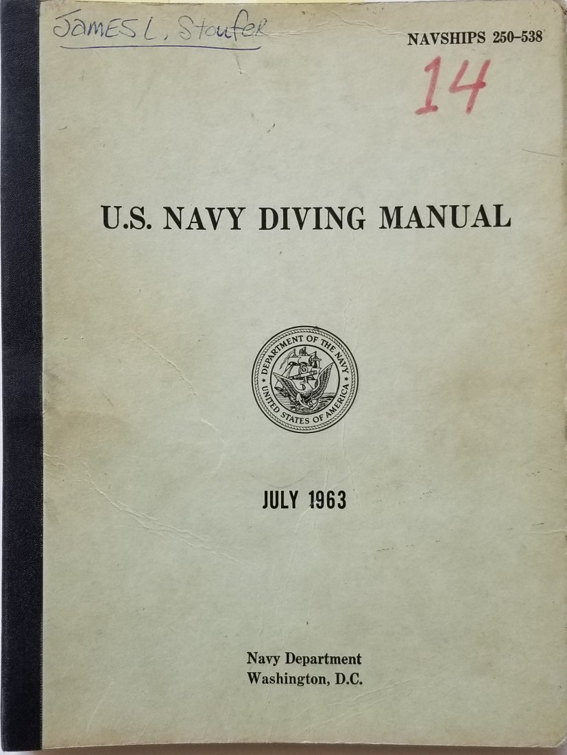 US Navy Diving Manual 1963 Mark V Air and Gas Sections