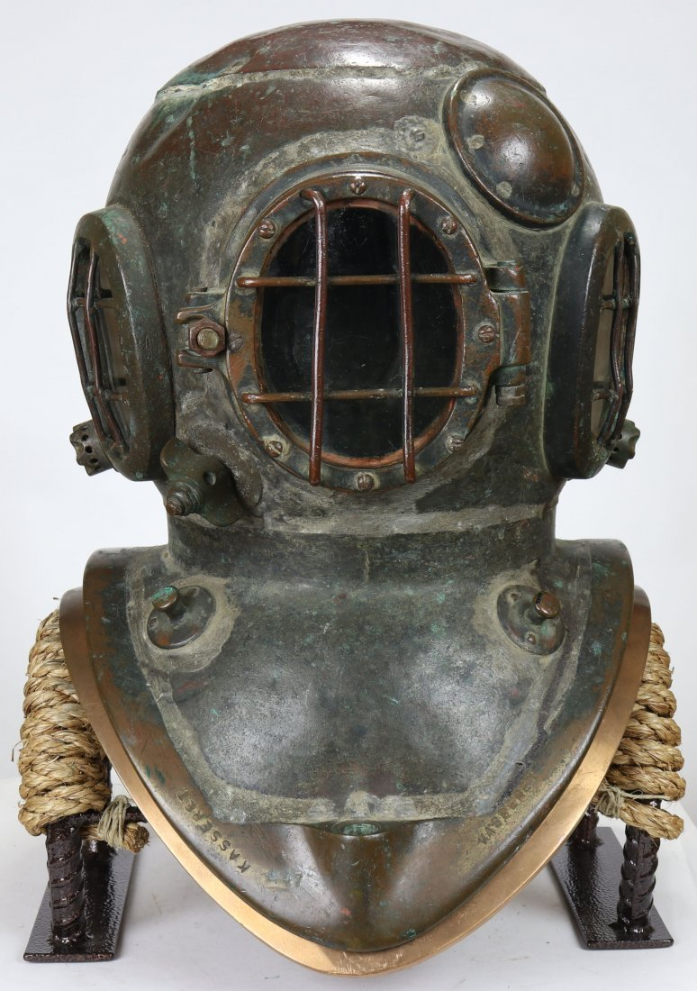 Rare Hansen Danish 2 Bolt Diving Helmet w/ Crown Stamp