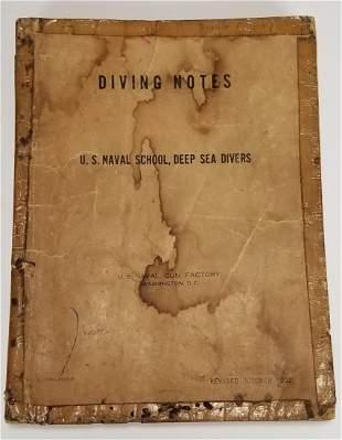 US Naval School Deep Sea Diving Notes Manual 1952