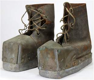 Old Leather, Copper & Lead Divers Boots