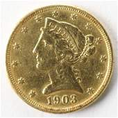 1903 S Liberty Head 5 Dollar US Gold Coin