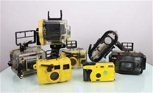 Collection Of Seven Underwater Cameras & Housings