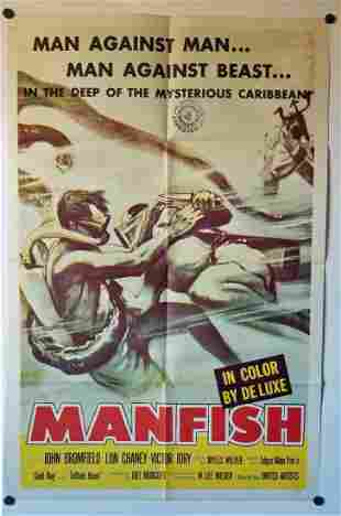 1956 One Sheet Movie Poster – Manfish With Lon Chaney