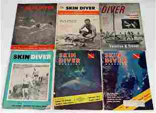 Six Skin Diver Magazines 1954 to 1959