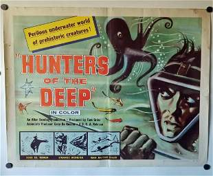 Original 1955 Hunters Of The Deep Movie Poster